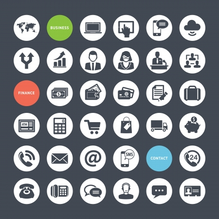 internet symbol: Set of icons for business, finance and communication  Illustration