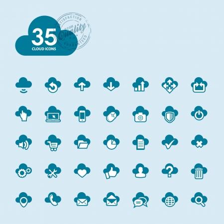 database icon: Set of cloud computing icons  Illustration