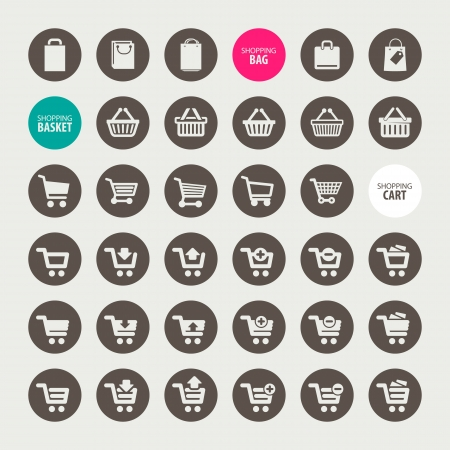 cart icon: Set of shopping icons Illustration
