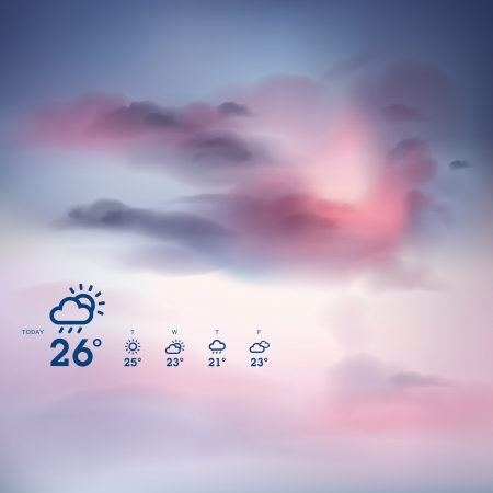 Weather forecast template and sunset theme background Stock Vector - 19086575