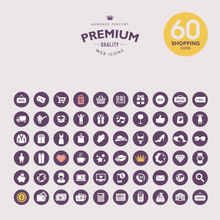 Set of premium shopping icons Illustration