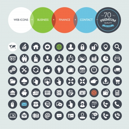 home finances: Set of web icons for business, finance and communication Illustration