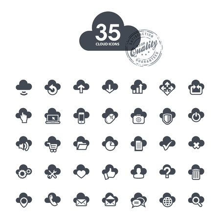 access control: Set of cloud icons