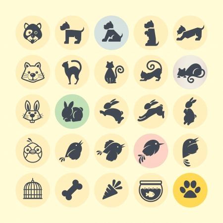 perro hueso: Conjunto de iconos de animales Vectores
