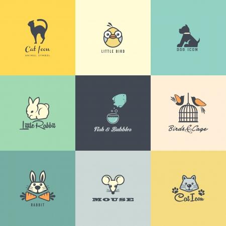 silhouette chat: Ensemble des icônes d'animaux colorés