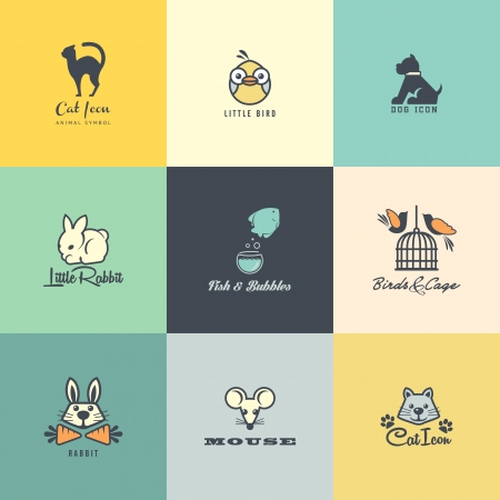 cat and dog: Set of colorful animal icons Illustration