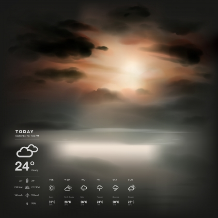 rainy days: Weather widget template and sunset the sea background