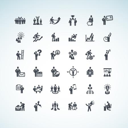jerarquia: Conjunto de personas de negocios iconos de concepto