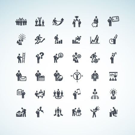 company profile: Set of business people concept icons Illustration