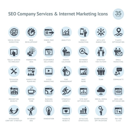keywords link: Set of SEO company service and Internet marketing icons