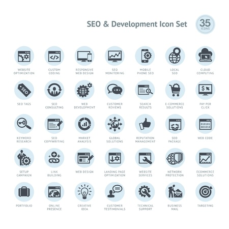 SEO and Development icon set Stock Vector - 19589418