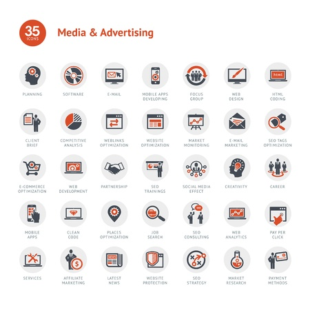 Media and Advertising icons Vector