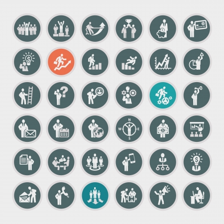 function key: Set of business concept icons