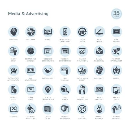 Ensemble de médias et les icônes publicitaires Vecteurs