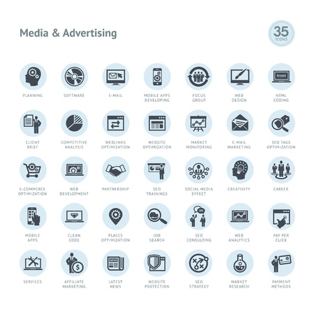 e business: Set of media and advertising icons