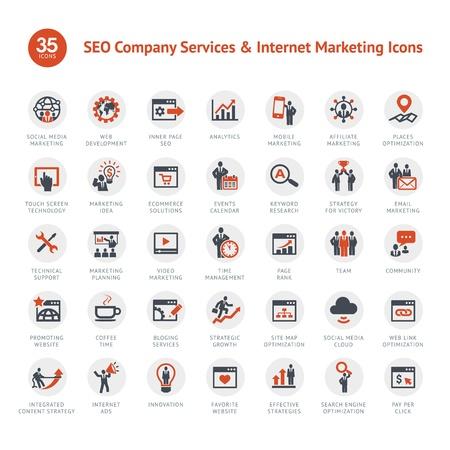 Ensemble de SEO et les icônes de marketing