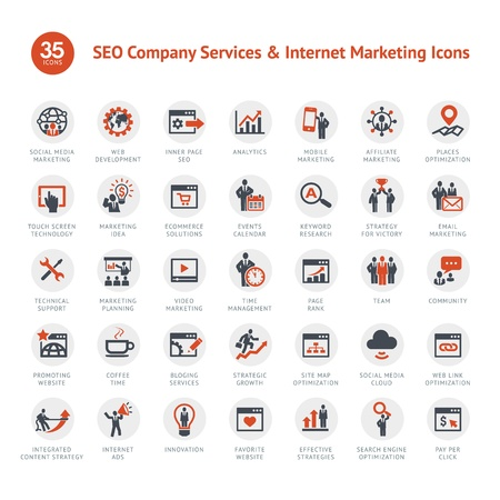 Set of SEO and Marketing icons Vector