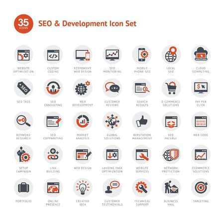 Set van SEO en Ontwikkeling iconen Vector Illustratie
