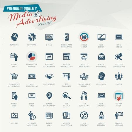 mercadotecnia: Medios de comunicación y publicidad icono conjunto Vectores