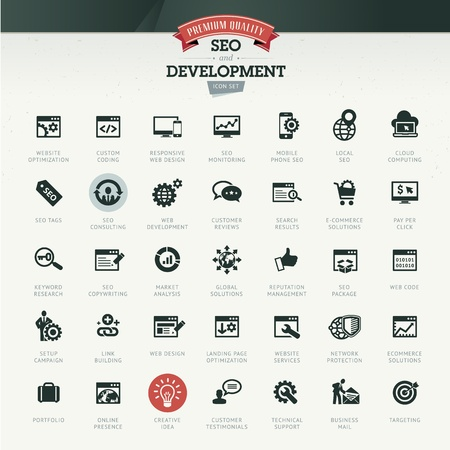 at icon: SEO and development icon set Illustration