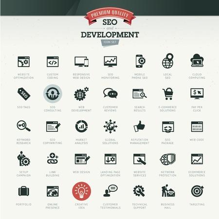 computer support: SEO e sviluppo icona set