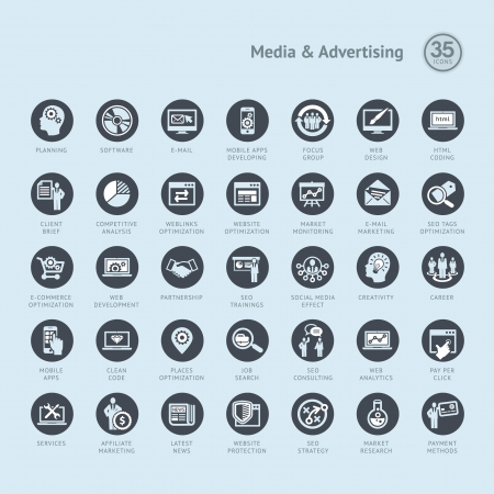kódování: Sada ikon na podnikání pro médií a reklamy
