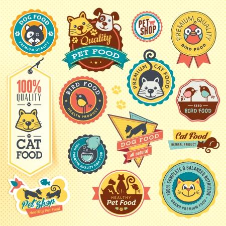 perro caricatura: Conjunto de etiquetas y pegatinas de animales
