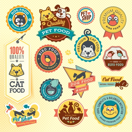 dog paw: Set of animal labels and stickers