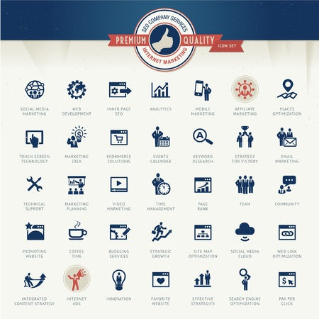 internet marketing: Set of business icons for internet marketing and services