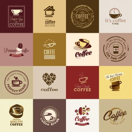 coffee beans: Set van koffie iconen Stock Illustratie
