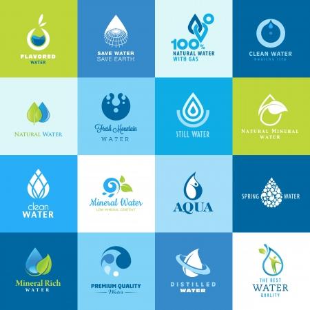 gota agua: Set de iconos para todos los tipos de agua Vectores