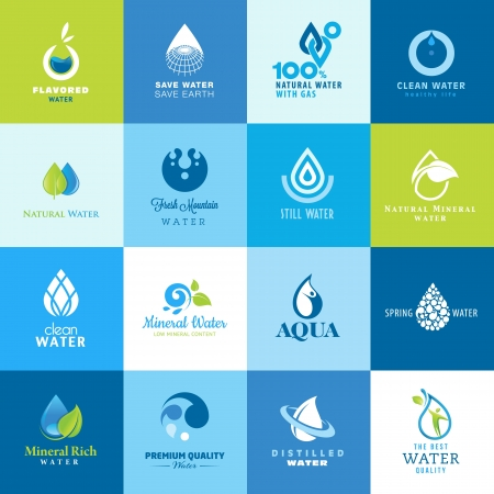 water on leaf: Set of icons for all types of water Illustration