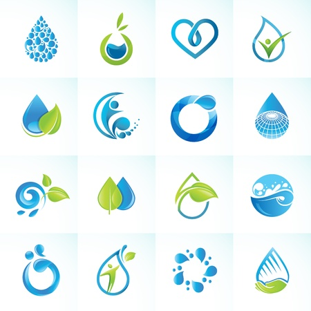 Set of icons for water and nature Çizim