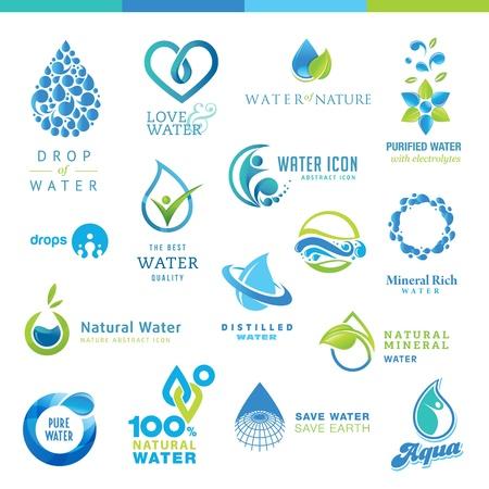 agua purificada: Conjunto de iconos de agua