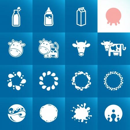 vaca caricatura: Set de iconos para la leche Formas abstractas y elementos