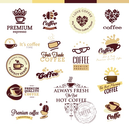 Set of icons and badges for coffee Vector