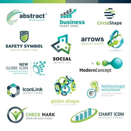 Set of business abstract icons Vector
