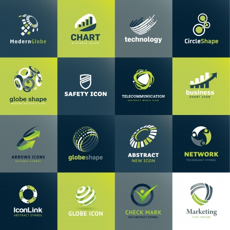 Set of icons for business and technology Vector