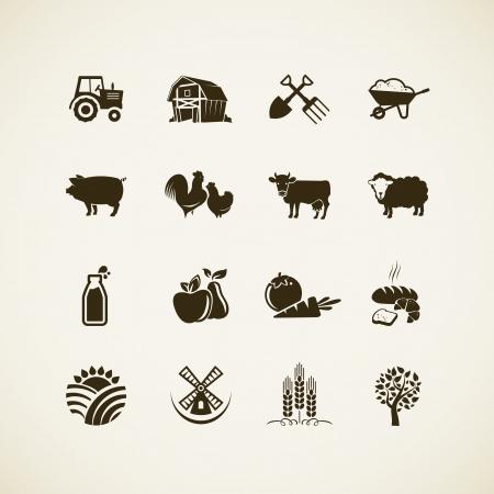 Set boerderij iconen - boerderij dieren, voedsel en drank productie, biologisch product, machines en gereedschappen op de boerderij Stock Illustratie