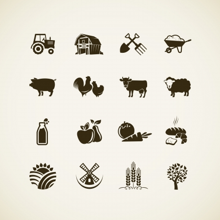 production: Set of farm icons - farm animals, food and drink production, organic product, machinery and tools on the farm