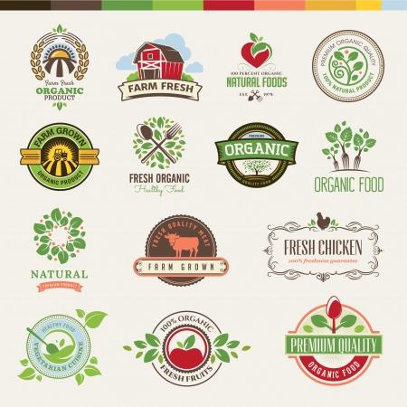 arbol de manzanas: Juego de insignias y pegatinas para los productos ecológicos Vectores