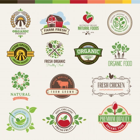 organic background: Set of badges and stickers for organic products