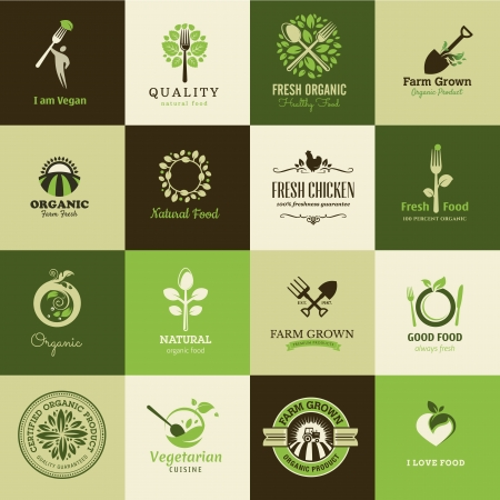 organic farm: Set of icons for organic food and restaurants