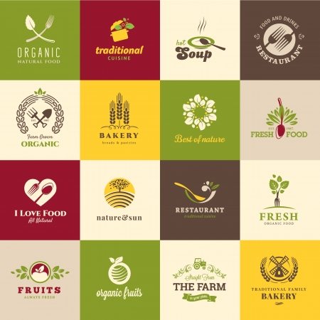 food backgrounds: Set of icons for food and drink, restaurants and organic products