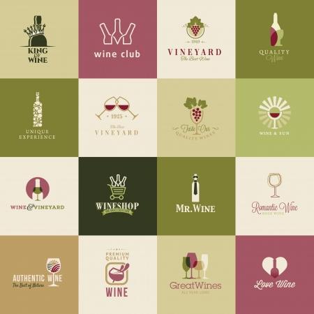 white wine bottle: Set de iconos para el vino, bodegas, restaurantes y tiendas de vino