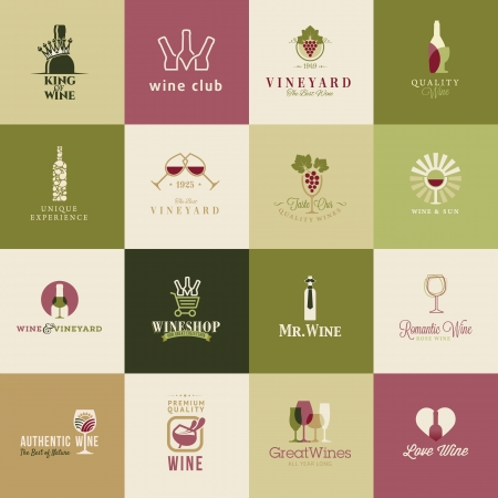 glass with red wine: Set of icons for wine, wineries, restaurants and wine shops Illustration