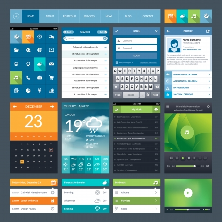 company profile: Set of flat design ui elements for mobile app and web