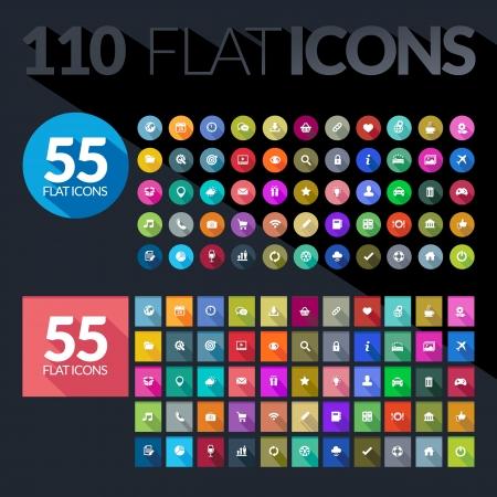 search icon: Set van vlakke pictogrammen voor mobiele app en web Stock Illustratie