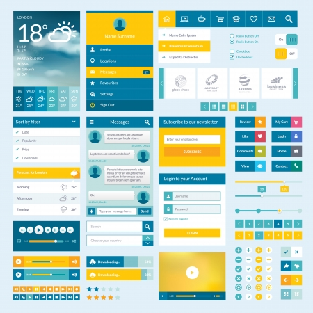 mobile application: Set of flat web elements, icons and buttons for mobile app and web design Illustration