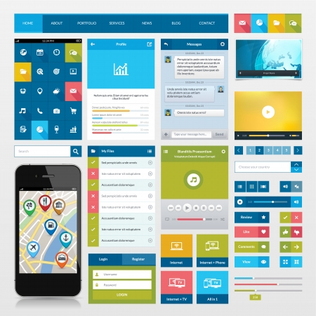 mobile app: Flat icons and ui web elements for mobile app and website design Illustration